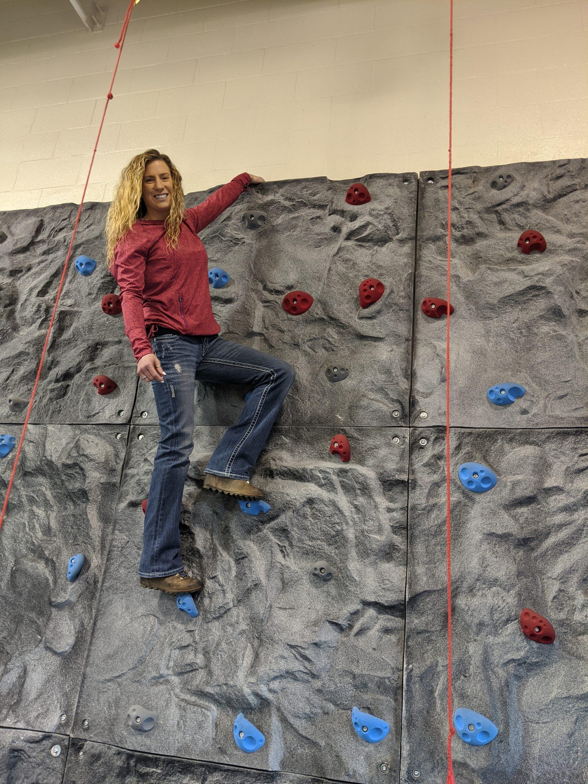 Kari Browning PAL Rock Climbing Wall