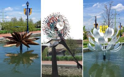 New Kinetic Art Sculptures Installed in Carroll Creek